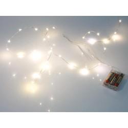 GUIRLANDE A LED - BLANC CHAUD - 20 LEDs - SUR PILES