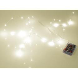 GUIRLANDE A LED - IP68 - BLANC CHAUD - 20 LEDs - ALIMENTATION PAR PILES