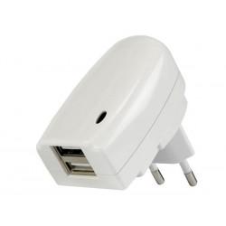 CHARGEUR AVEC DOUBLE CONNEXION USB - 5V-2A. 10W