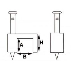 CLIP PLAT DE FIXATION. BLANC. 10 mm (100 pcs/boite)