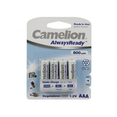 NiMH AAA/R03 1.2V-800mAh (4/carte) 'ALWAYSREADY™'