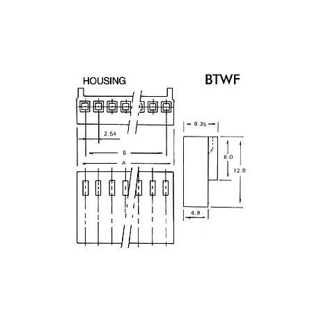 CONNECTEUR AVEC CABLE POUR CI - FEMELLE - 5 CONTACTS / 20cm