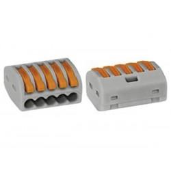 BORNE DE CONNEXION 5 x 0.08-4mm POUR CONDUCTEURS SOUPLES OU RIGIDES/GRIS (boîte de 40 pièces)