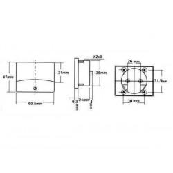VOLTMETRE ANALOGIQUE DE TABLEAU 30V CC / 60 x 47mm
