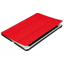 ETUI AVEC COUVERTURE INTELLIGENTE ET SANGLE ELASTIQUE POUR APPLE iPAD MINI - SIMILCUIR ROUGE