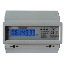 COMPTEUR kWh TRIPHASE POUR MONTAGE SUR RAIL DIN - 7 MODULES