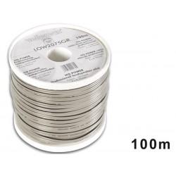 CABLE HAUT-PARLEUR - GRIS/BANDE NOIRE - 2 x 0.75mm² - 100m