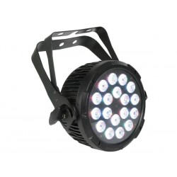 PROJECTEUR PAR PRO A LED - NOIR - DOUBLE ETRIER - 18 LED TRICOLORES DE 3W