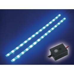 DOUBLE RUBAN AUTOCOLLANT A LEDS - 12VCC - BLEU - AVEC BOUTON ON/OFF
