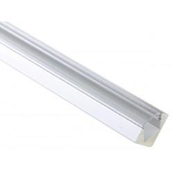 PROFILE EN ALUMINIUM POUR FLEXIBLES LED - 45o - 2M - DIFFUSEUR TRANSPARENT