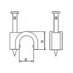 CLIP DE FIXATION ROND. GRIS - 4 mm (100 pcs/boite)