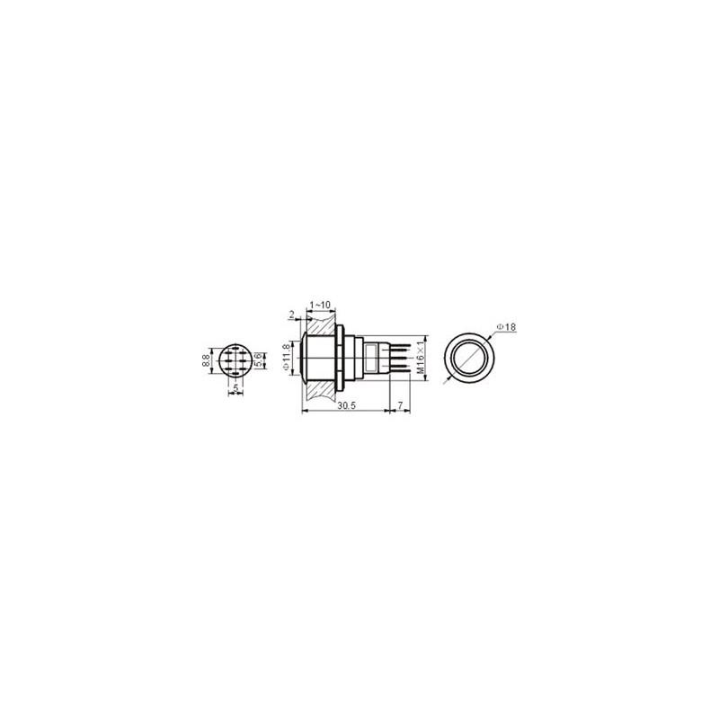 Bouton poussoir r1600w 0,5a//230v SPDT Blanc