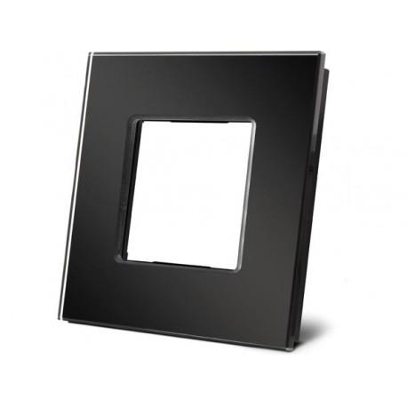 plaque de recouvrement en verre pour BTicino® LivingLight. noir