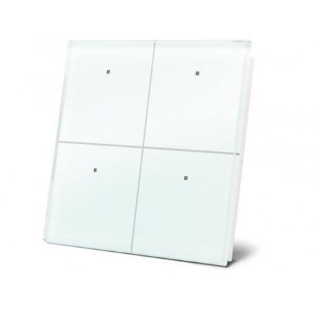 module de commande en finition verre avec touches tactiles quadruples. blanc