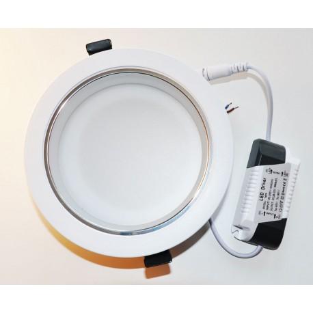 """Plafonnier Rond 160mm 5"""" Encastrable Blanc Eclairage LED PRO Aluminium 2700-3200K (blanc chaud) 14W 1250LM"""