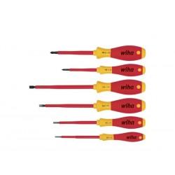 wiha jeu de tournevis softfinish® electric fente, phillips 6 pcs (00833)